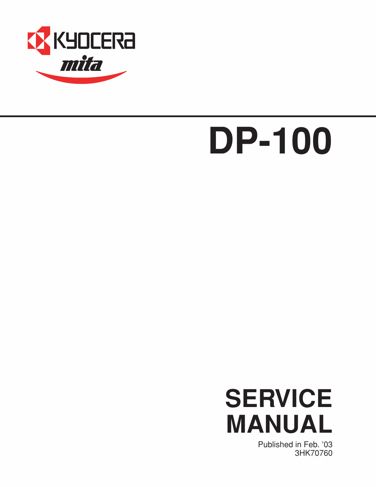 KYOCERA Options DP-100 Parts and Service Manual-1